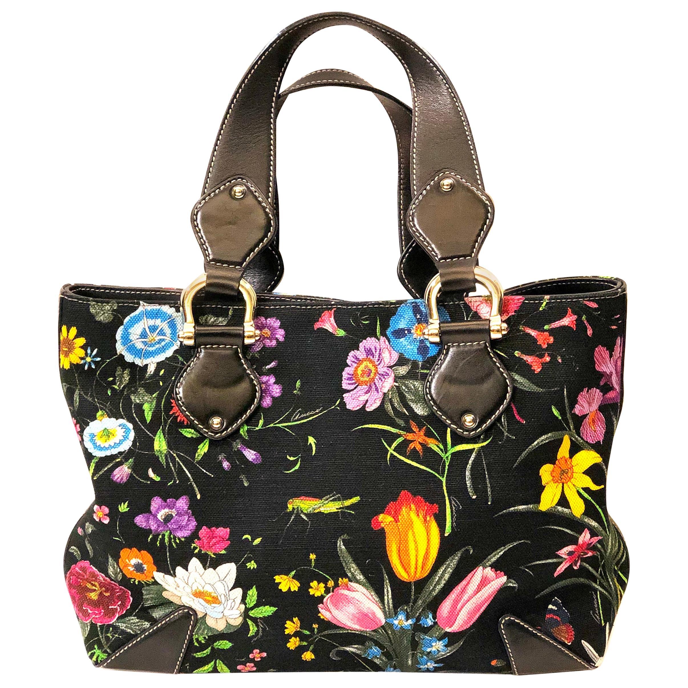 Gucci Floral Print Canvas Handbag