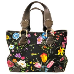 Gucci Floral Print Canvas Handbag