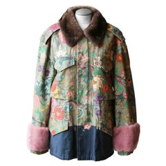 Gucci Floral-Print Mink-Trimmed Canvas Jacket