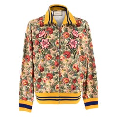 Gucci Floral-Print Scuba-Jersey Bomber Jacket	SIZE S