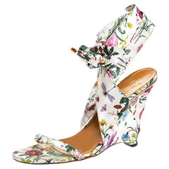Gucci Floral Printed Satin Ankle Strap Wedge Sandals Size 40