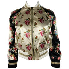 Gucci Floral Silk Bomber Jacket Size 40
