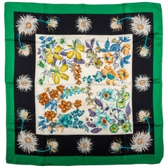 Gucci Flower Silk Scarf With Green Trim