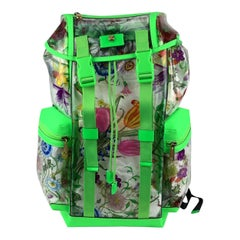 Gucci Fluo Green Clear PVC Floral Large Backpack Never Used