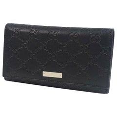 GUCCI Folded long wallet GG Ssima Womens long wallet 24494 black