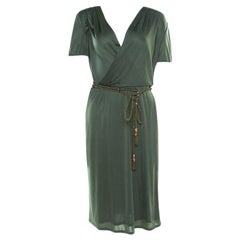 Gucci Forest Green Plunge Neck Belted Wrap Dress M