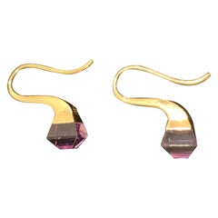 Gucci French Horn Earrings 18-Karat Gold with Amethyst