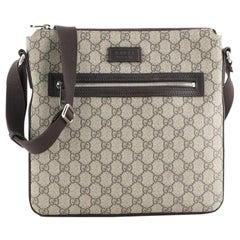 Gucci  Front Zip Flat Messenger Bag GG Coated Canvas Medium