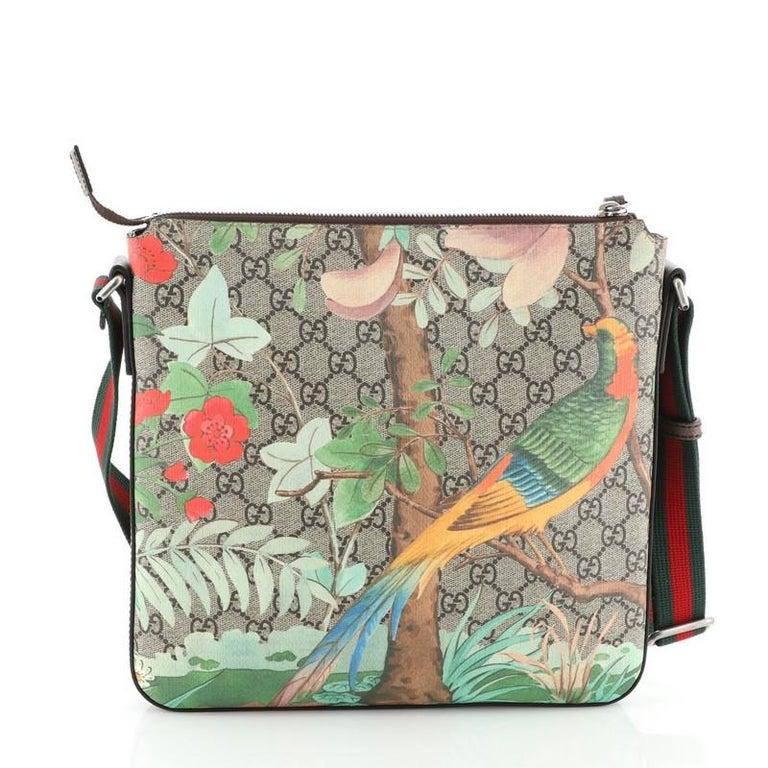 Women's or Men's Gucci Front Zip Messenger Tian Print GG Coated Canvas Medium For Sale