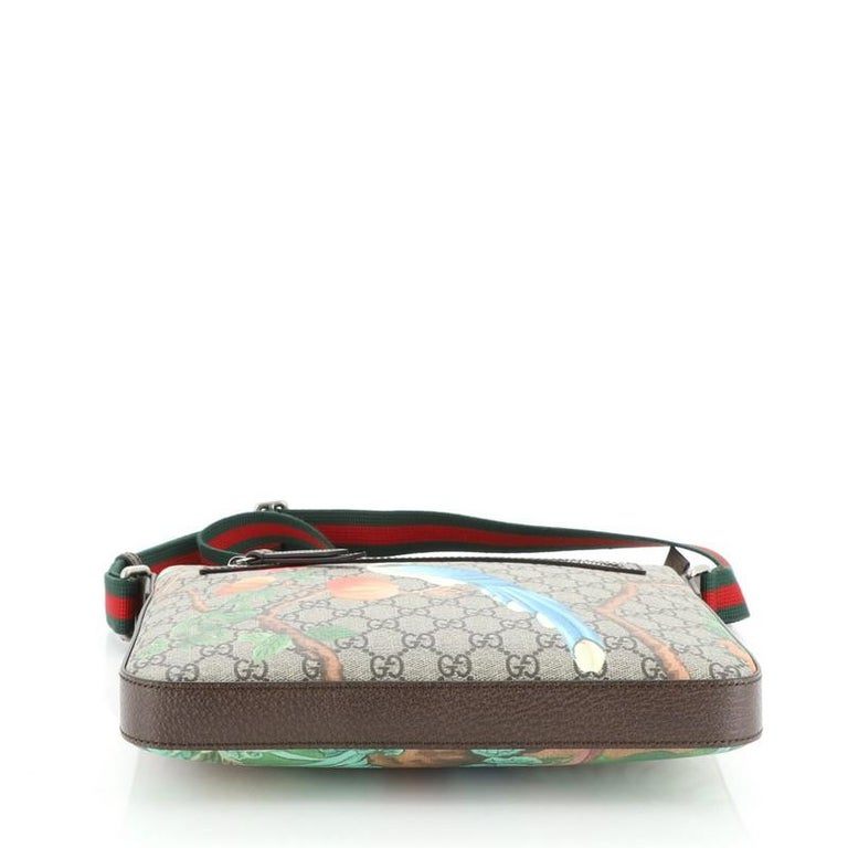 Gucci Front Zip Messenger Tian Print GG Coated Canvas Medium For Sale 1