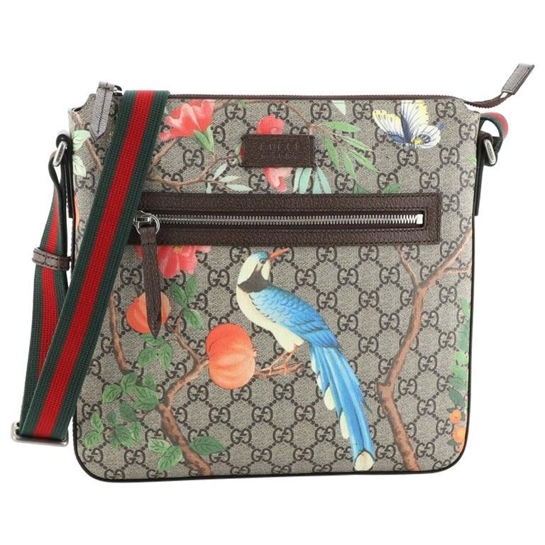 Gucci Front Zip Messenger Tian Print GG Coated Canvas Medium For Sale