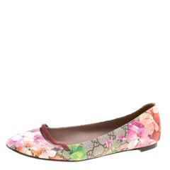Gucci Fuchsia Blossom Print GG Supreme Canvas Ballet Flats Size 39.5