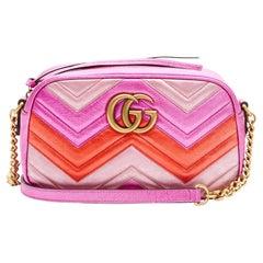 Gucci Fuchsia Metallic Marmont GG Matelasse Camera Bag