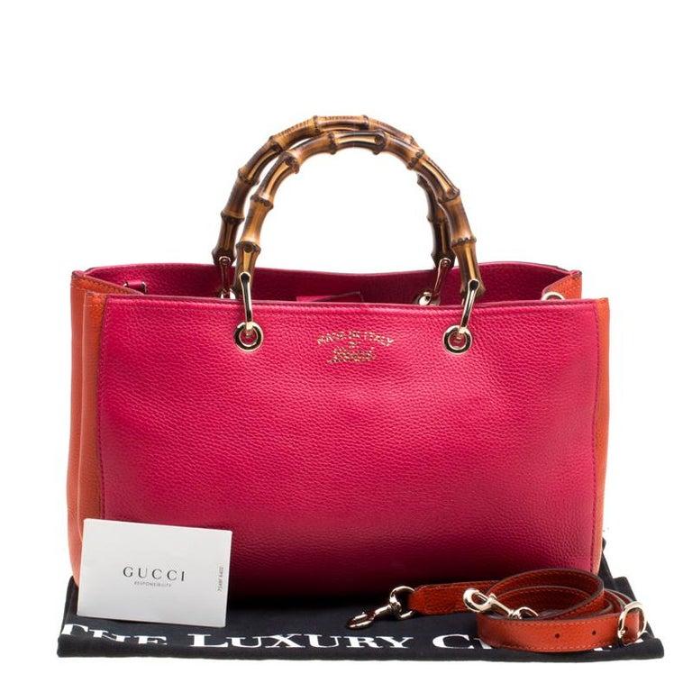 51c255412e3a1 Gucci Fuchsia Orange Leather Medium Exclusive Bamboo Shopper Top Handle Bag  For Sale 7