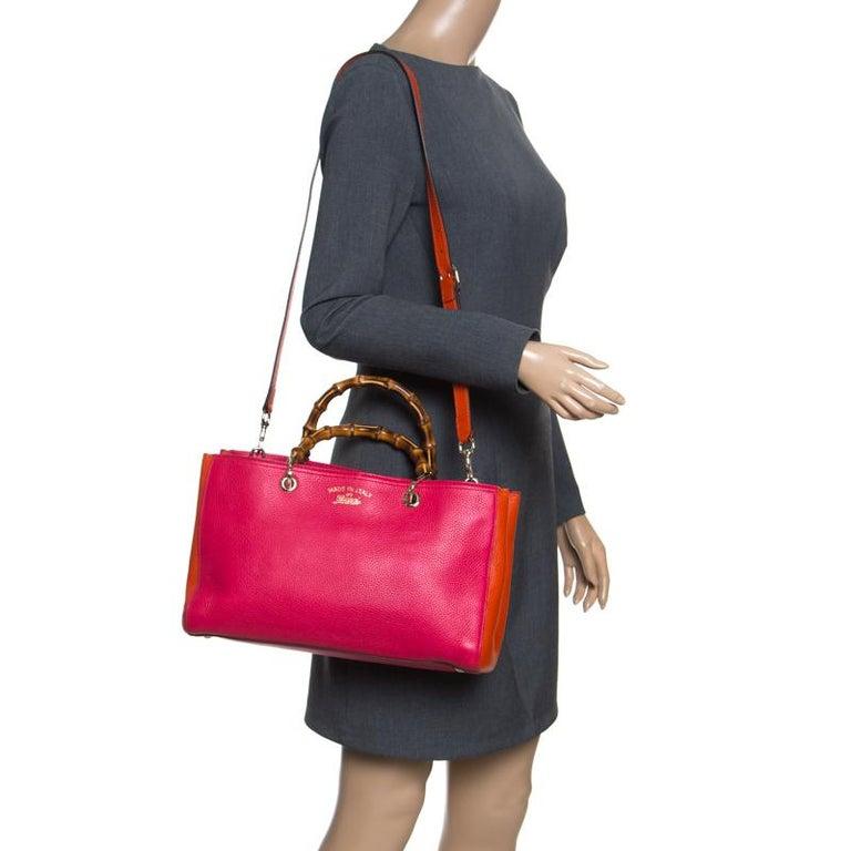 717ae864bca38 Red Gucci Fuchsia Orange Leather Medium Exclusive Bamboo Shopper Top Handle  Bag For Sale