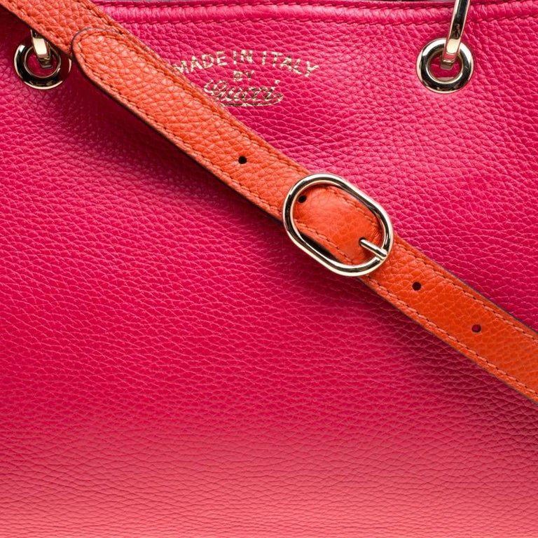 367d97e8a2a1a Women s Gucci Fuchsia Orange Leather Medium Exclusive Bamboo Shopper Top  Handle Bag For Sale