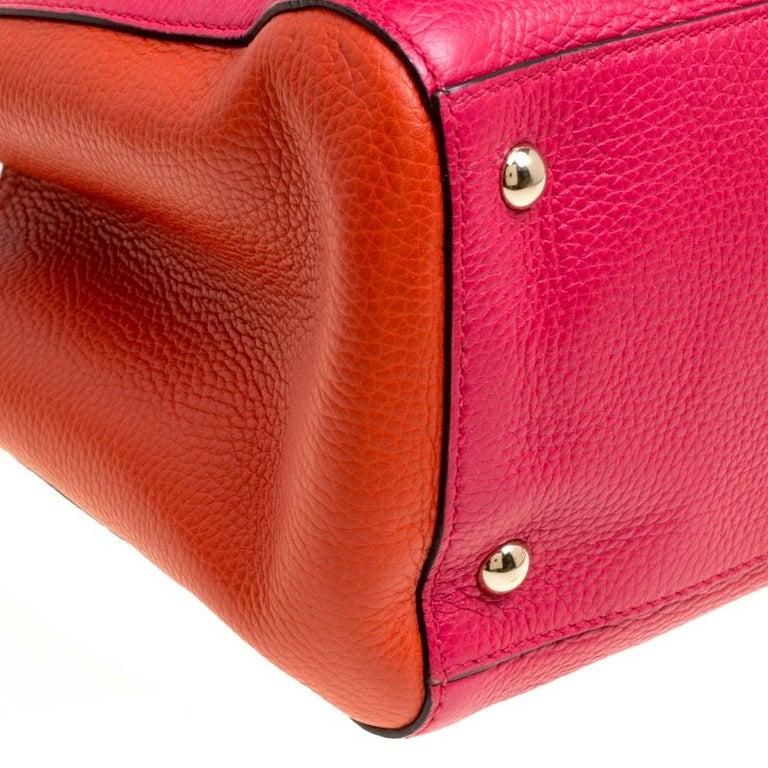 1fb8b26bb3251 Gucci Fuchsia Orange Leather Medium Exclusive Bamboo Shopper Top Handle Bag  For Sale 2