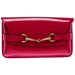 Gucci Fuchsia Patent Leather Horsebit Clutch