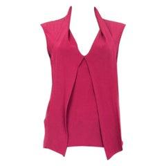 GUCCI fuchsia pink silk Sleeveless Blouse Shirt 40 S