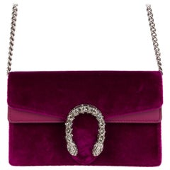 GUCCI fuchsia velvet DIONYSUS SUPER MINI Crossbody Shoulder Bag