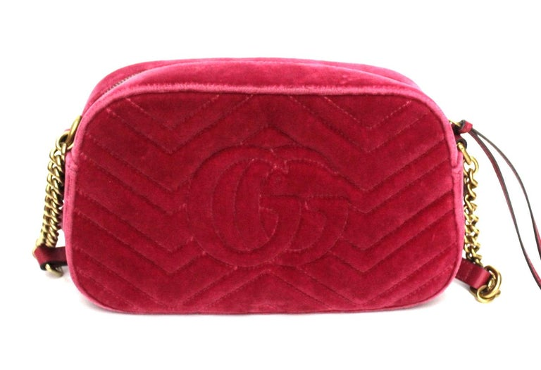 Red Gucci Fucsia Velvet Marmont Bag For Sale