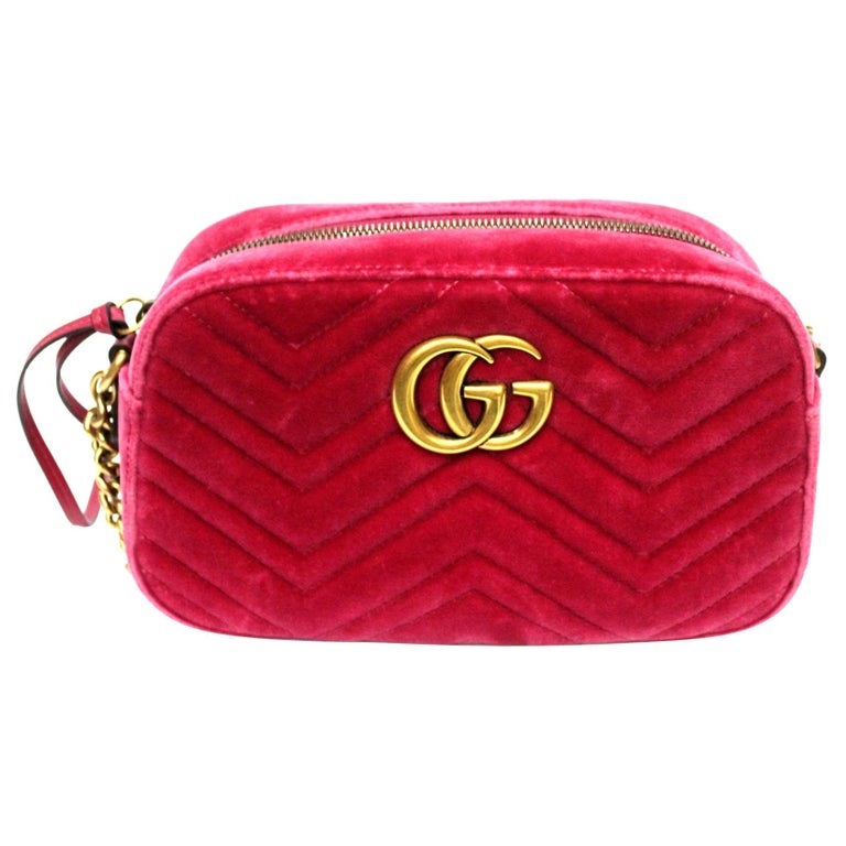 Gucci Fucsia Velvet Marmont Bag For Sale