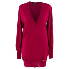 Gucci Fuschia Oversized V-neck Knit Sweater XS