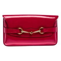 Gucci Fuschia Patent Leather Horsebit Clutch