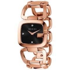 Gucci G Black Diamond Dial Rose Gold-Tone Ladies Watch Item No. YA125409