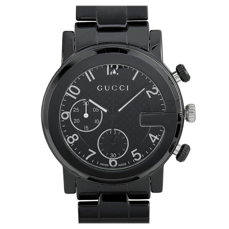 Gucci G-Chrono Black Ceramic Watch YA101352 For Sale