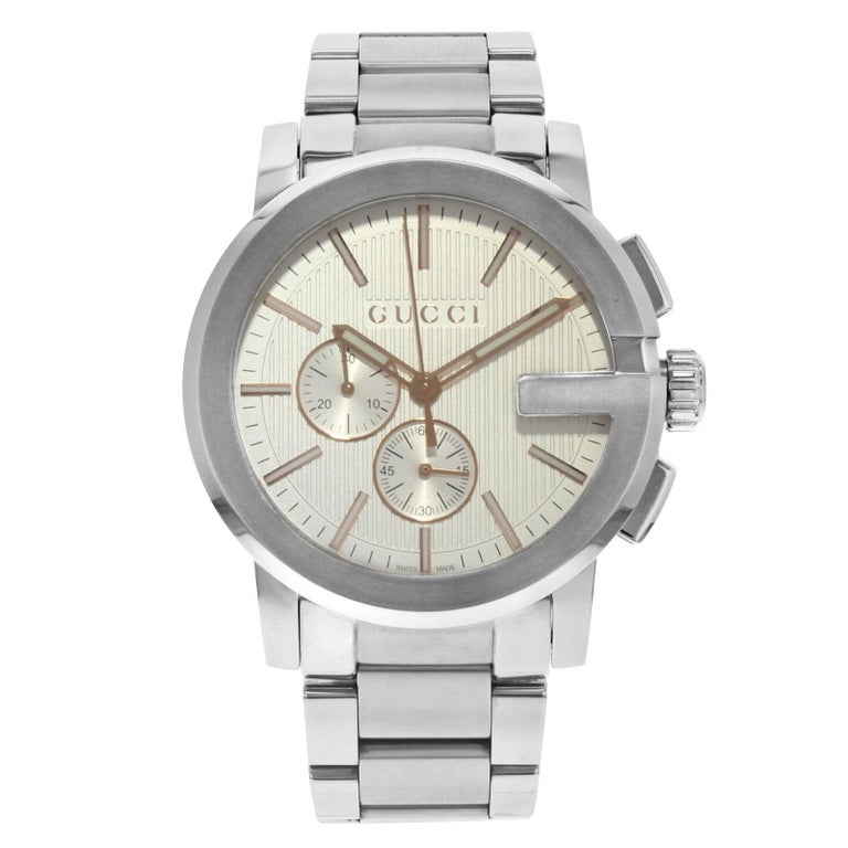 98d87e43a73 Gucci G-Chrono Silver Round Dial Stainless Steel Quartz Men s Watch  YA101201 For Sale