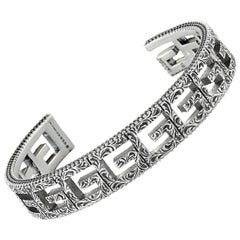 Gucci G Cube Aged Sterling Silver G Motif Bracelet
