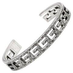Gucci G Cube Aged Sterling Silver G Motif Cuff Bracelet