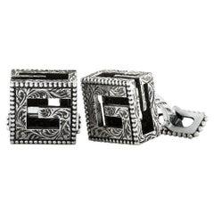 Gucci G Cube Aged Sterling Silver G Motif Cufflinks