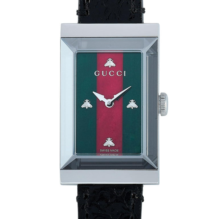 Women's Gucci G-Frame Green-Red Mother of Pearl Dial Watch YA147403