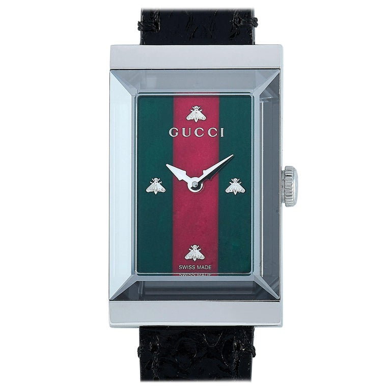 Gucci G-Frame Green-Red Mother of Pearl Dial Watch YA147403