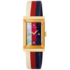 Gucci G-Frame Quartz Yellow Gold PVD Rectangular Dial Ladies Watch YA147405