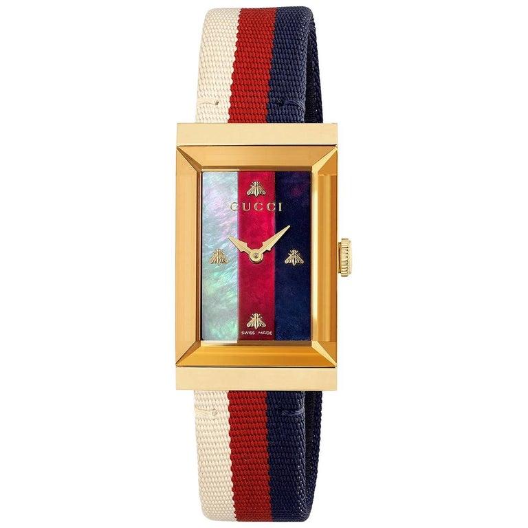 283ea8c2ff9 Gucci G-Frame Quartz Yellow Gold PVD Rectangular Dial Ladies Watch YA147405  For Sale