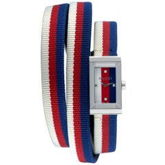Gucci G-Frame Red, White and Blue Triple Wrap Strap Watch YA147502