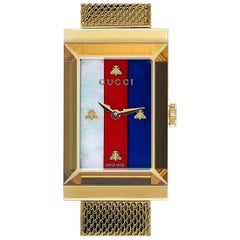 Gucci G-Frame Yellow Gold-Tone Watch YA147410