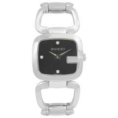Gucci G-Gucci Stainless Steel Black Diamond Dial Quartz Ladies Watch YA125406