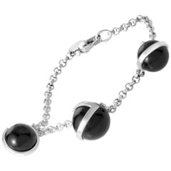 Gucci G Silver Onyx Boule Bracelet