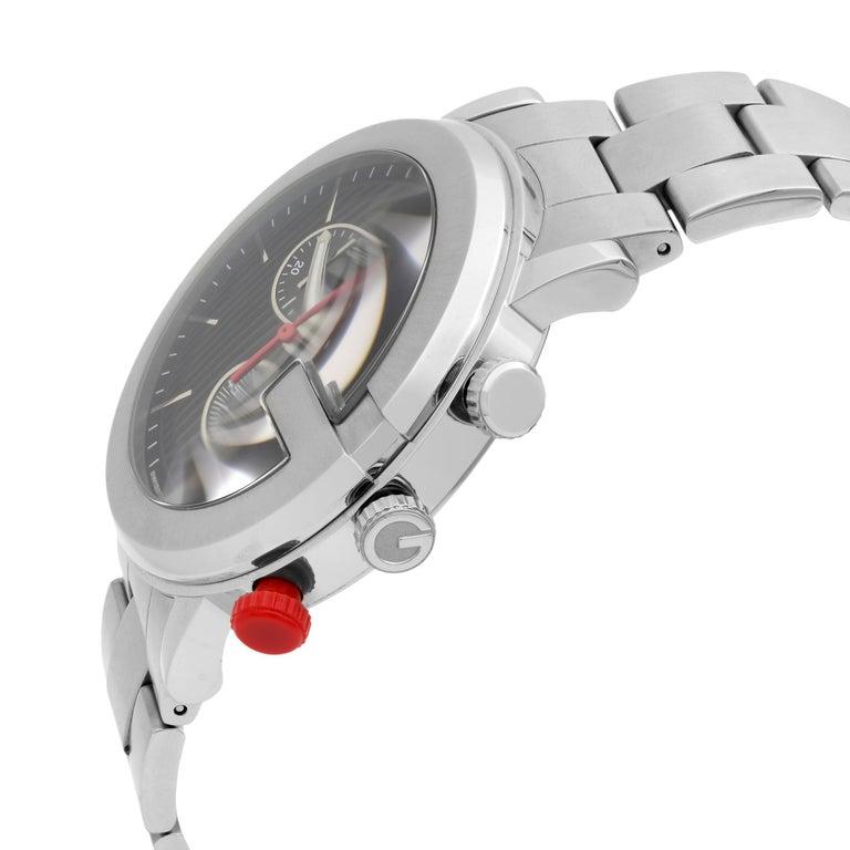 Modern Gucci G Stainless Steel Chronograph Black Dial Quartz Men's Watch YA101361 For Sale