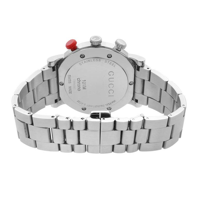 Women's Gucci G Stainless Steel Chronograph Black Dial Quartz Men's Watch YA101361 For Sale