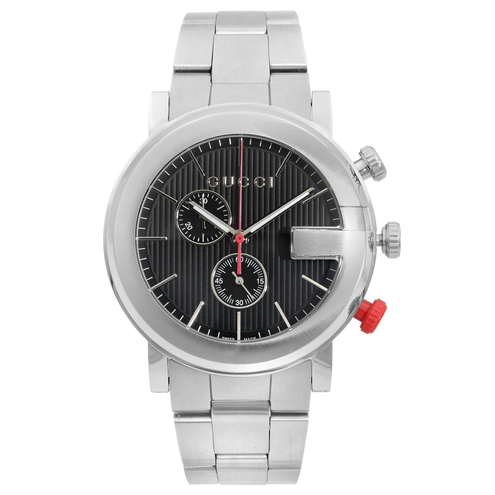 Gucci G Stainless Steel Chronograph Black Dial Quartz Men's Watch YA101361