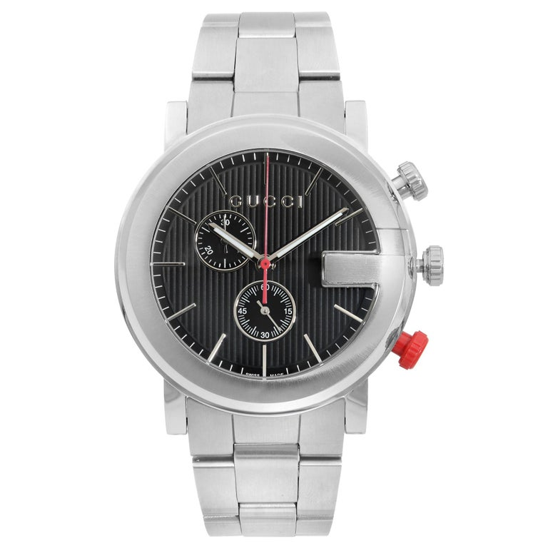 Gucci G Stainless Steel Chronograph Black Dial Quartz Men's Watch YA101361 For Sale