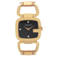 Gucci G Steel Rose Gold-Tone Black Diamond Dial Quartz Ladies Watch YA125409