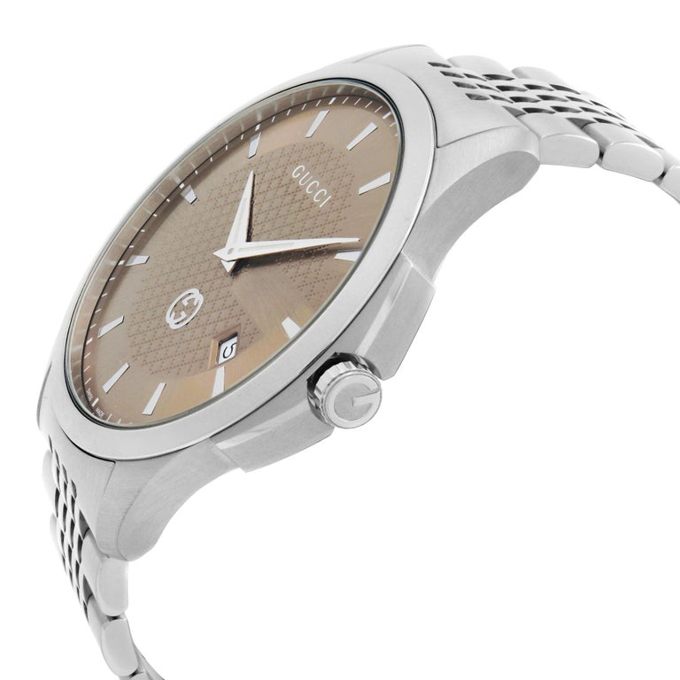 Gucci G-Timeless Date Stainless Steel Brown Dial Quartz Mens Watch YA126349 In Good Condition For Sale In New York, NY