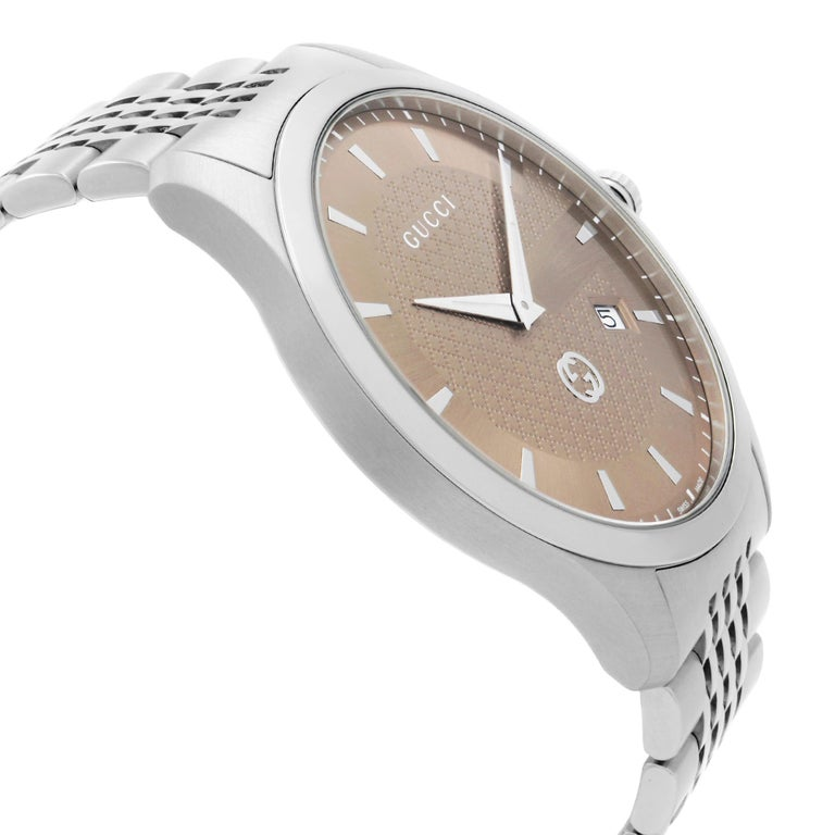 Men's Gucci G-Timeless Date Stainless Steel Brown Dial Quartz Mens Watch YA126349 For Sale
