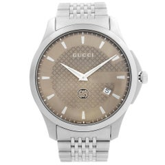 Gucci G-Timeless Date Stainless Steel Brown Dial Quartz Mens Watch YA126349